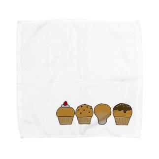 カップケーキとノウタケ Towel handkerchiefs