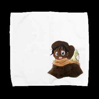 まきむらの黒白マフラー Towel handkerchiefs
