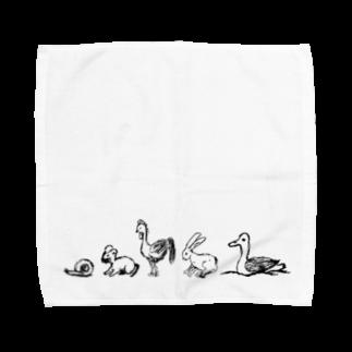 めぐみさらしの動物たち(よこ)タオルハンカチ