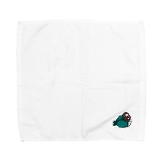 ブルーボタンインコの雛 Towel handkerchiefs