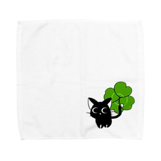 黒猫ダルとクローバー Towel handkerchiefs