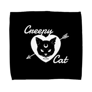 【MOON SIDE】 Creepy Cat #Black Ver.2 Towel handkerchiefs