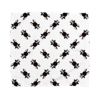 悪魔犬フィア(格子パターン) タオルハンカチ