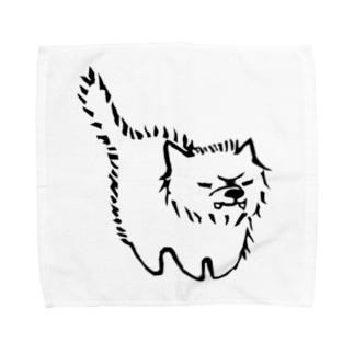 敵意むきだしわんこ Towel handkerchiefs