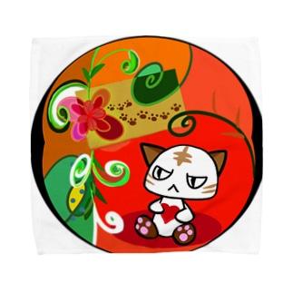 猫の節句 目つきの悪い猫 タオルハンカチ