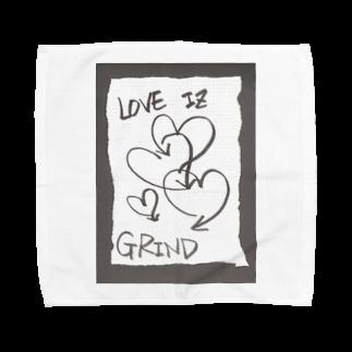 LUNARHOLIC STOREの偽諺~壱~「ラヴイズグラインド」(黒縁) Towel handkerchiefs