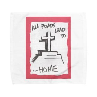 偽諺~弐~「全ての道はホームに通ず」(赤縁) Towel handkerchiefs