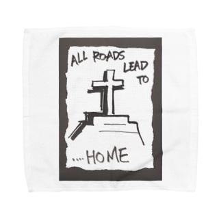 偽諺~弐~「全ての道はホームに通ず」(黒縁) Towel handkerchiefs