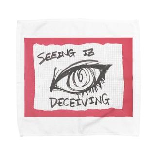 LUNARHOLIC STOREの偽諺~参~「百聞は一見に如く」(赤縁) Towel handkerchiefs