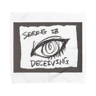 偽諺~参~「百聞は一見に如く」(黒縁) Towel handkerchiefs