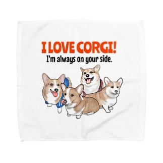I LOVE  CORGI! Towel handkerchiefs