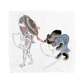 百鬼夜行絵巻 銅拍子の付喪神と黒い妖怪【絵巻物・妖怪・かわいい】 Towel handkerchiefs