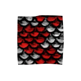鱗(紅白) Towel handkerchiefs