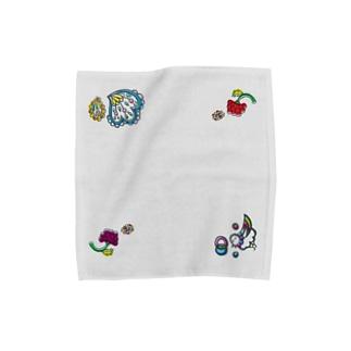 楽園の住人(トリ)なタオルハンカチ・Mサイズ・グレー Towel handkerchiefs