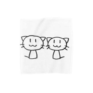 ねこ2ひき Towel handkerchiefs