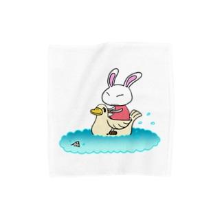 ウサギとアヒルボート Towel handkerchiefs