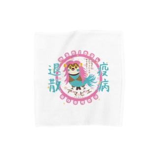 アマビエりんちゃん「疫病退散」2 Towel handkerchiefs