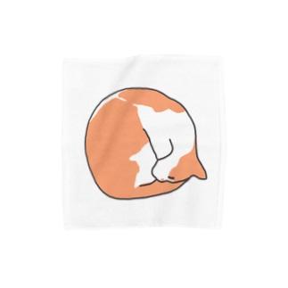 まんまる茶白ねこ Towel handkerchiefs