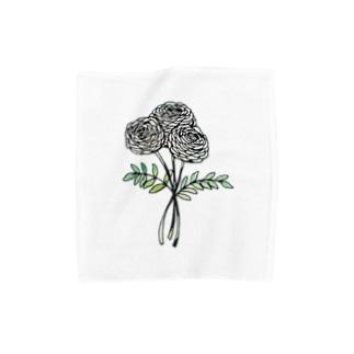切り絵 / ラナンキュラス Towel handkerchiefs