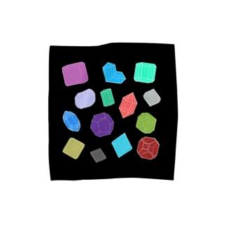 クリスタルのタオル・黒 <アンティーク・イラスト> Towel handkerchiefs