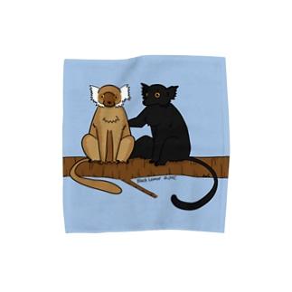 日本モンキーセンターのクロキツネザル Towel handkerchiefs
