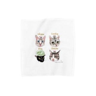 <うちの子+にくきゅう*ポートレート>KHAW & DAOW&BEA&LUCKY Towel handkerchiefs