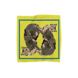 美人過ぎるネコ ハンカチMサイズ用 チェーン マスタード オーダー品 Towel handkerchiefs