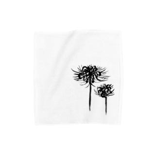 曼珠沙華 黒 Towel handkerchiefs