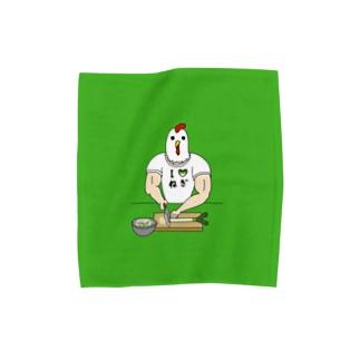 【背景ミドリ】 ひたすらネギを切るニワトリ男 Towel handkerchiefs