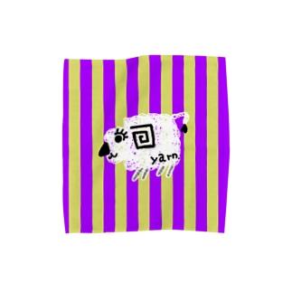 紫黄色ストライプ羊白 Towel handkerchiefs