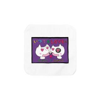 いつでもLOVE×2にゃたりん(紫) Towel handkerchiefs
