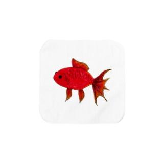 赤い金魚 Towel handkerchiefs