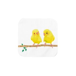 幸せの黄色いセキセイインコ タオルハンカチ