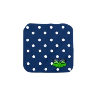 黒縁めがねかえる ハンカチ S Towel handkerchiefs