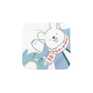 「ナンちゃん&ホクさんの万歳タオルハンカチ(白)」 Towel handkerchiefs