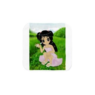 少女と赤とんぼと山 Towel handkerchiefs