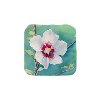 ムクゲ:透明水彩でお花の絵 タオルハンカチ
