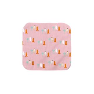 細長い仲間たち pink Towel handkerchiefs