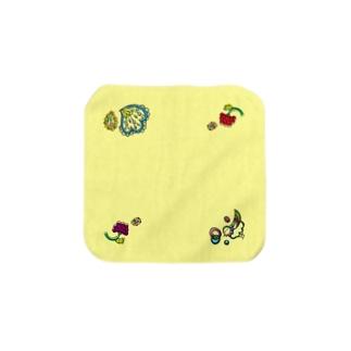 楽園の住人(トリ)なタオルハンカチ・Mサイズ・イエロー Towel handkerchiefs
