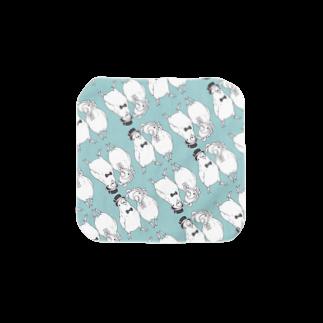 インコグッズ屋のコザクラ夫妻モノクロVer. Towel handkerchiefs