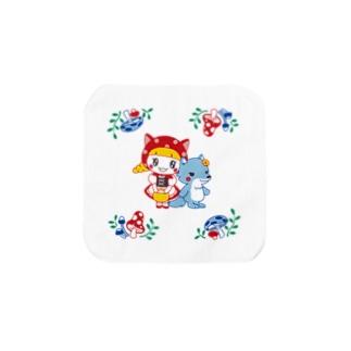 水玉ネコ耳ずきんちゃんとおおかみちゃん Sサイズ Towel handkerchiefs