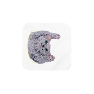 ひょこっと顔出す猫 タオルハンカチ