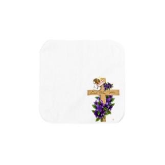 十字架にちょこんと天使ちゃん Towel handkerchiefs