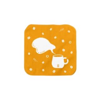 珈琲豆とランドルト環マグのタオルハンカチ Towel handkerchiefs