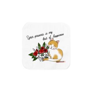 花束とニコニコ猫ちゃん Towel handkerchiefs