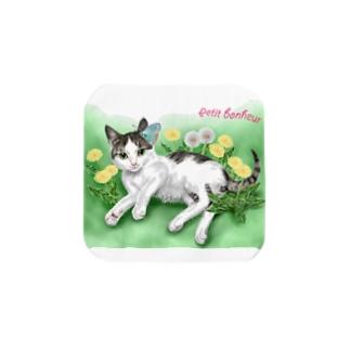 タンポポとサバトラ子猫① Towel handkerchiefs