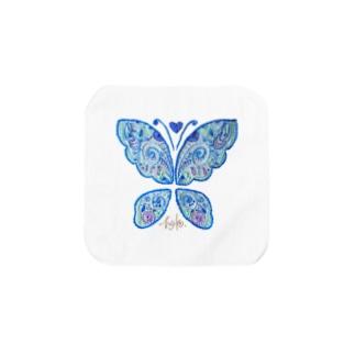 蝶々刺繍 ✺ icey blue Towel handkerchiefs