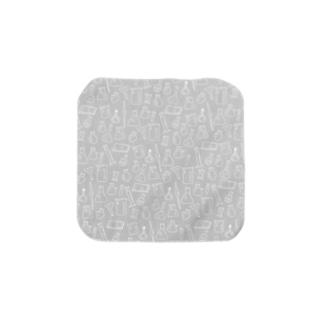 ビーカーくんたちグレー×白 Towel handkerchiefs