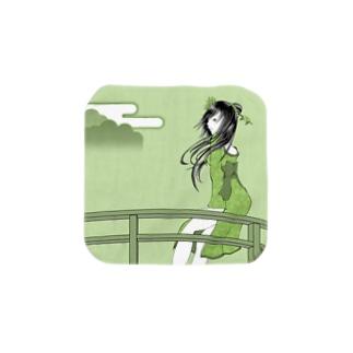 長谷川 姫子の デザイナー以外グッドスタッフの村娘ハンカチ Mサイズ(緑) Towel handkerchiefs