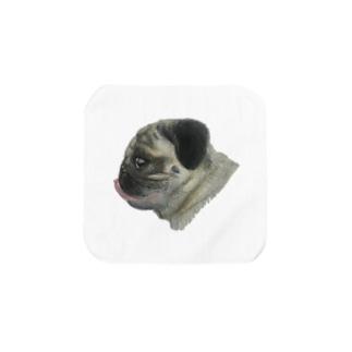 パグのもぐお横顔(イラスト) タオルハンカチ